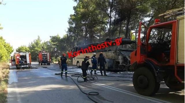 Ξέσπασε φωτιά σε εν κινήσει λεωφορείο στην εθνική οδό Πρέβεζας-Ηγουμενίτσας!