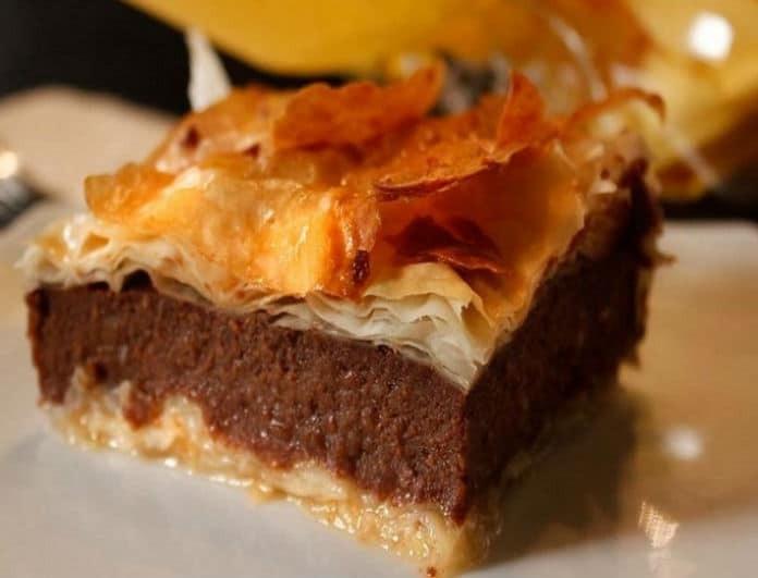 Μία «αμαρτωλή» συνταγή: Γαλακτομπούρεκο με σοκολατένιο φύλλο κρούστας!