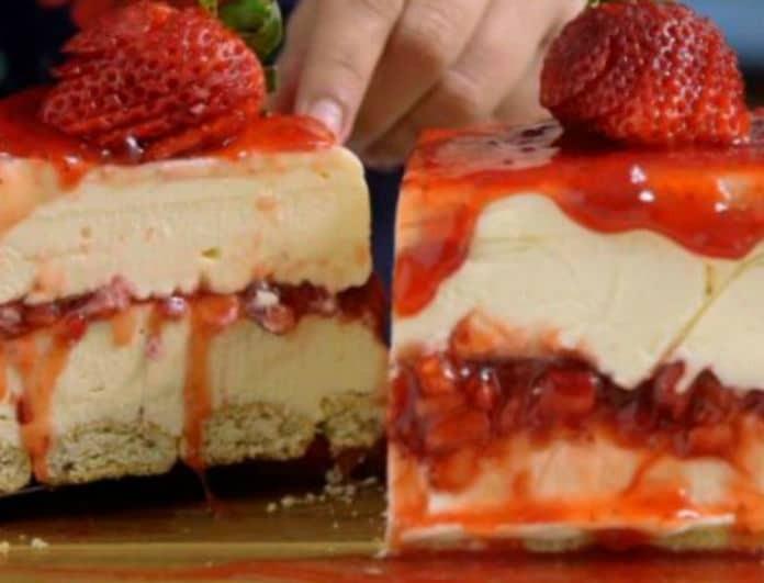 Παγωτό cheesecake με λευκή σοκολάτα και φράουλες!