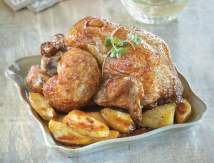 Νόστιμο κοτόπουλο φούρνου με μέλι και πατάτες!