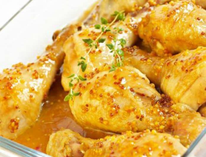 Η πιο νόστιμη συνταγή για μπουτάκια κοτόπουλου με σάλτσα μουστάρδας!