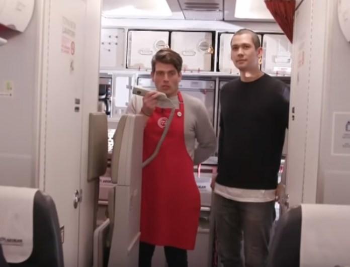 Master Chef: Κατακόκκινος μπροστά στις αεροσυνοδούς ο «Κρατς»! «Κόμπλαρα, ντράπηκα, δεν ξέρω τι έπαθα...» (βίντεο)