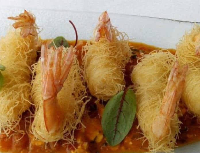 Η συνταγή της ημέρας: Γαρίδες κανταΐφι με σάλτσα σαγανάκι!