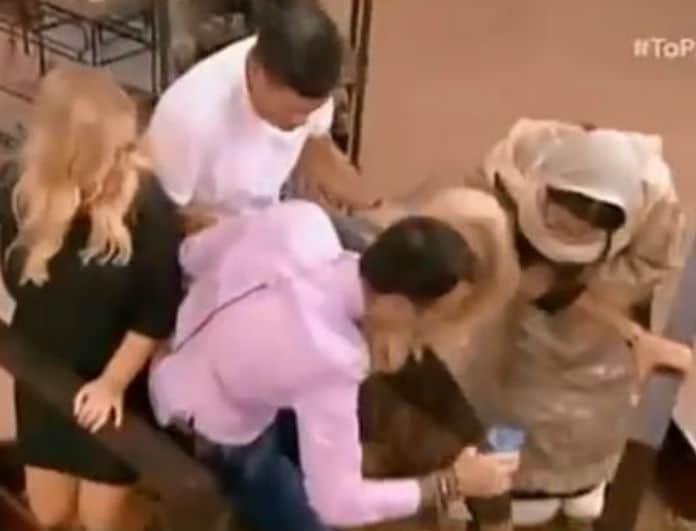 Φαίη Σκορδά: Παραλίγο να πέσει στα σταφύλια! Την κράτησαν οι συνεργάτες της! (Βίντεο)