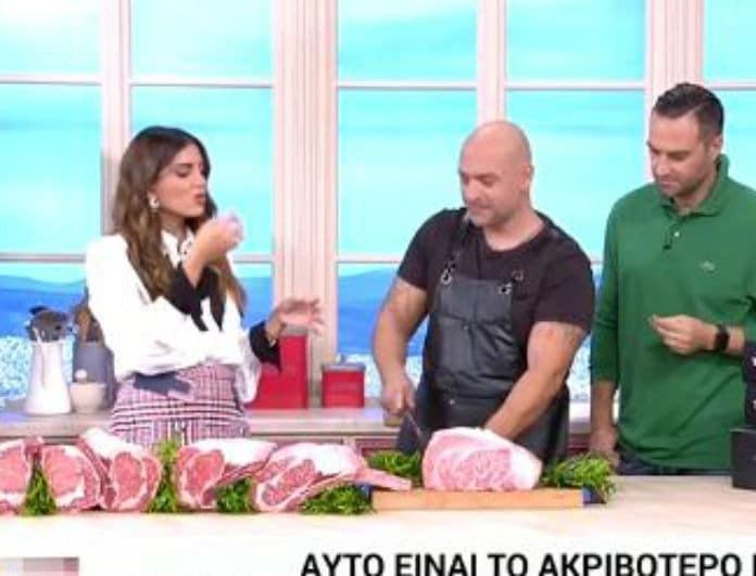 Σταματίνα Τσιμτσιλή: Έφαγε ωμό κρέας on camera! Χαμός στην εκπομπή!