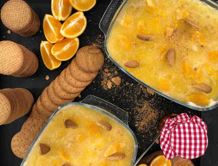 Γλυκό ψυγείου έρωτας - Με πορτοκάλι και μπισκότα