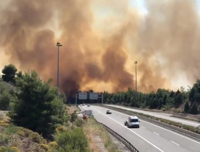 Χάος με την πυρκαγιά στο Μαρτίνο - Στην εθνική οδό οι φλόγες