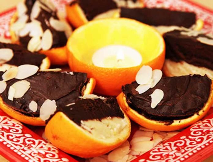 Κολασμένα γεμιστά πορτοκάλια με σοκολάτα και αμύγδαλα