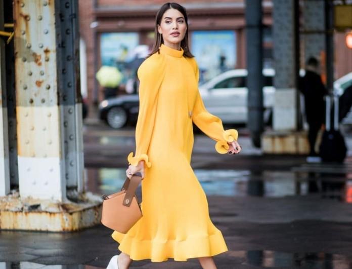 street style yellow dress