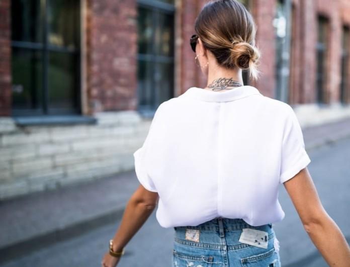 denim και λευκό πουκάμισο