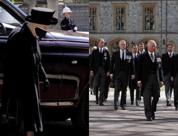 Κηδεία πρίγκιπα Φίλιππου: Συντετριμμένη η Βασίλισσα Ελισάβετ - Με δάκρυα στα μάτια και κεφάλι σκυμμένο