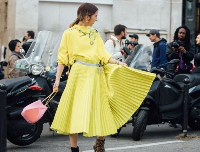 πλισέ κίτρινη φούστα