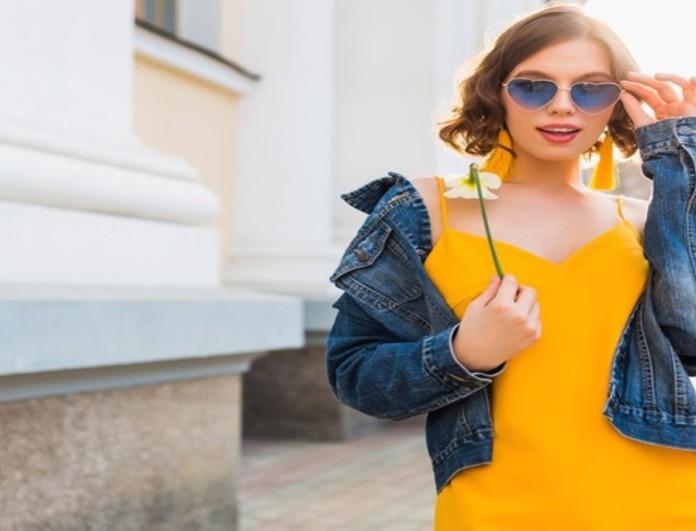 Κίτρινο φόρεμα με τζιν τζάκετ