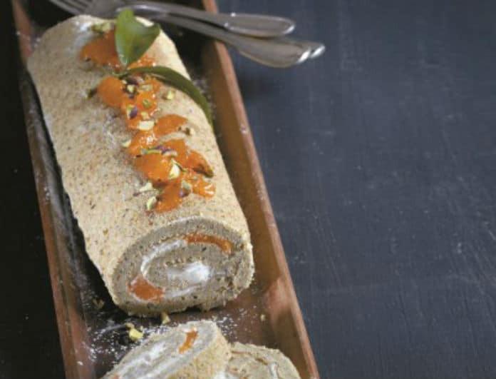 Η συνταγή που πρέπει να δοκιμάσεις!  Κορμός με μπισκουί από φιστίκι Αιγίνης και μους μανταρίνι!