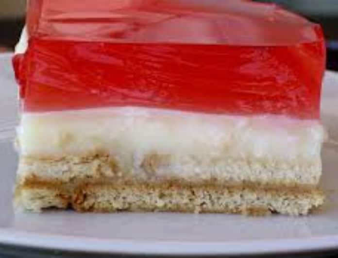 Εύκολο και νόστιμο γλυκό με ζελέ, κρέμα και μπισκότα από την Σταματίνα Τσιμτσιλή!