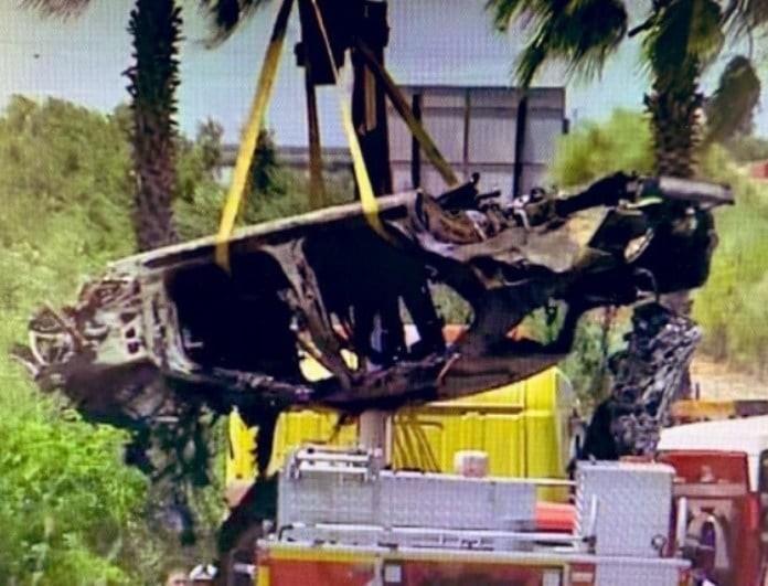 Eικόνες-σοκ από το τροχαίο του Ρέγες! Δεν έμεινε τίποτα από το αμάξι! Κάηκαν τα πάντα! (Βίντεο)