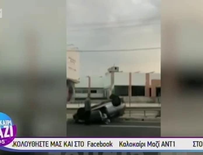 Τροχαίο στον Κηφισό με εγκλωβισμένο οδηγό! Ανετράπη το όχημα! (Βίντεο)