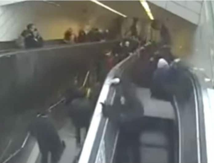 Βίντεο σοκ! Κυλιόμενη σκάλα «καταπίνει» και εγκλωβίζει άνδρα!