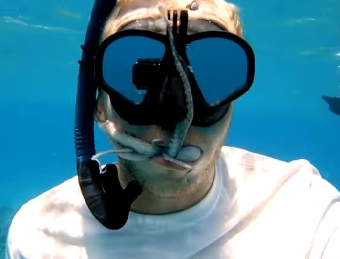 Απίστευτο: Έβαλε ζωντανό χταπόδι μέσα στο στόμα του! Θα μπορούσε να πεθάνει! (Βίντεο)