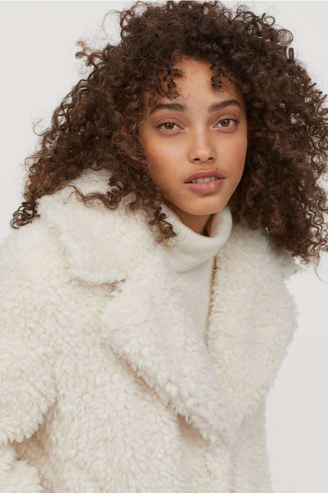 H&M λευκό teddy bear coat