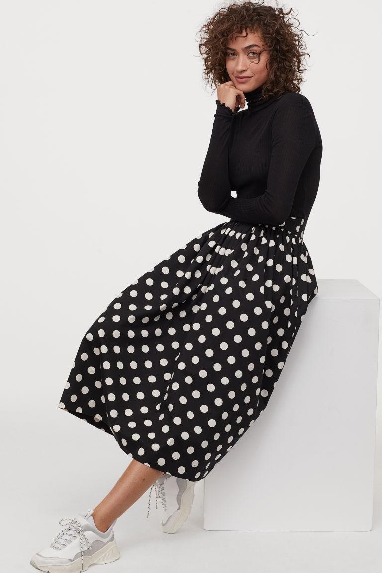 H&M φούστα πουά midi μαύρη