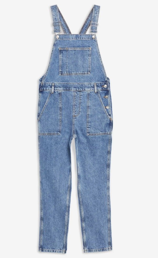 Mid Blue Pocket Denim Dungarees σαλοπέτα