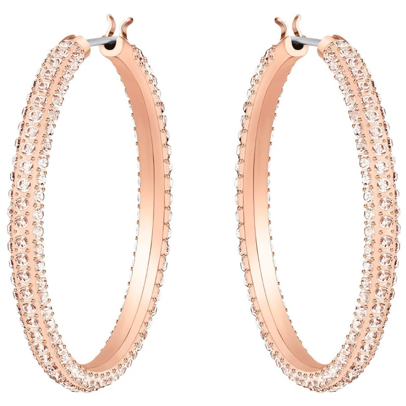 Σκουλαρίκια Stone Hoop Pierced Earrings, Pink, Rose Gold Plating Swarovski Shop