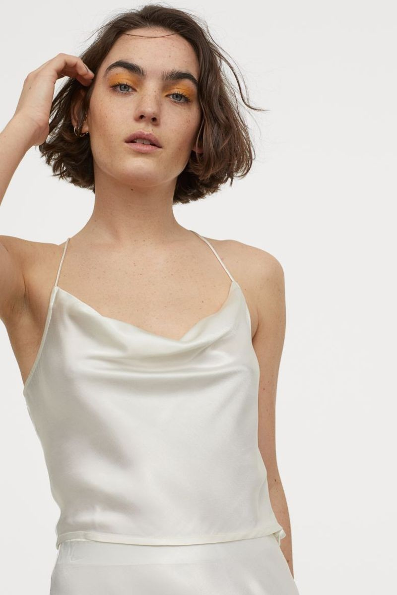 draped satin top H&M
