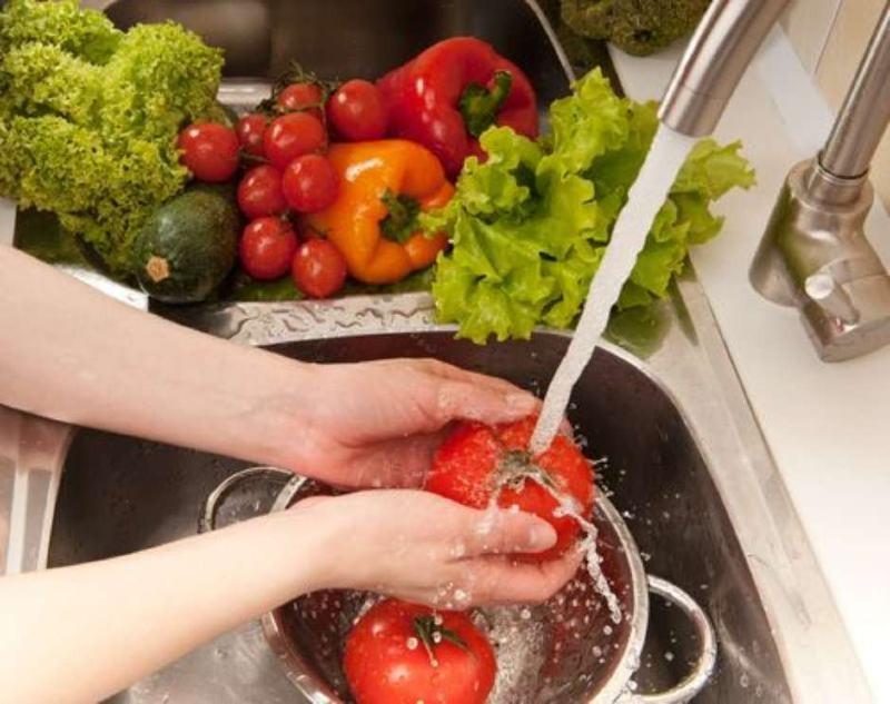 λαχανικά φρούτα μαγειρική σόδα καθαρισμός