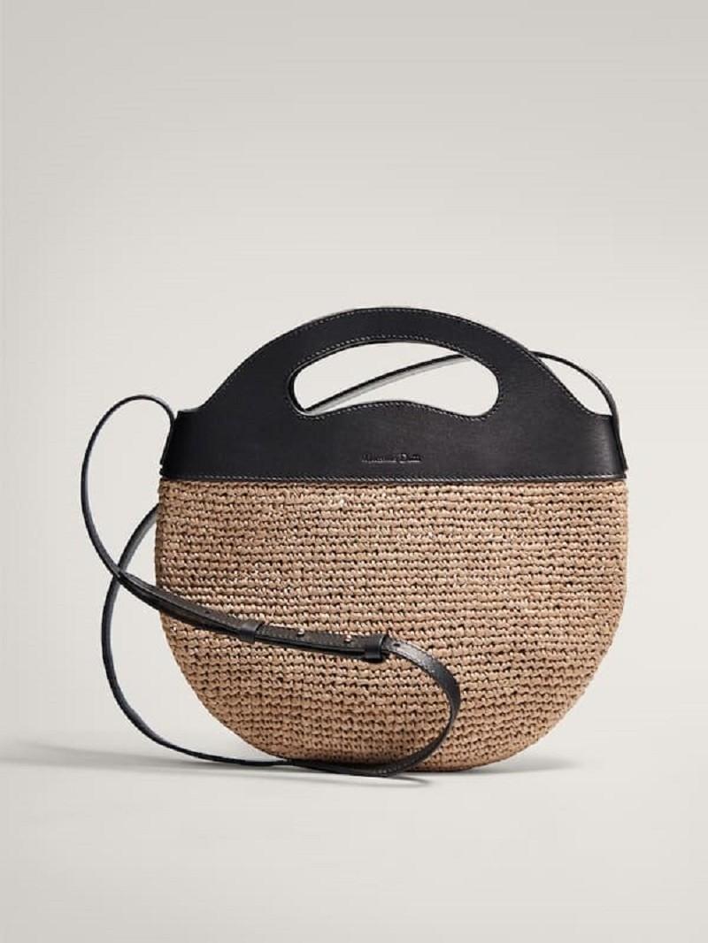 ψάθινη τσάντα Massimo Dutti