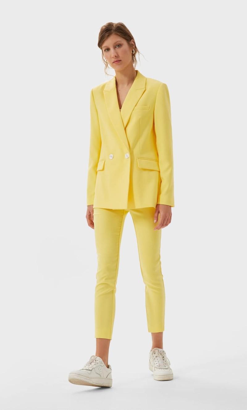 σετ σακάκι παντελόνι Stradivarius κίτρινο