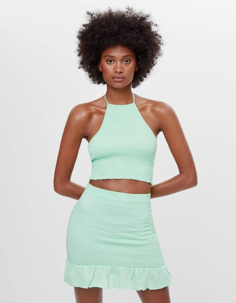 Bershka πράσινη φούστα με λάστιχο