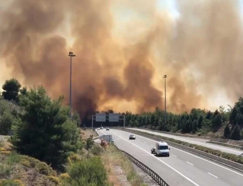 Καίγονται τα Σπάτα - Ξέσπασε μεγάλη φωτιά