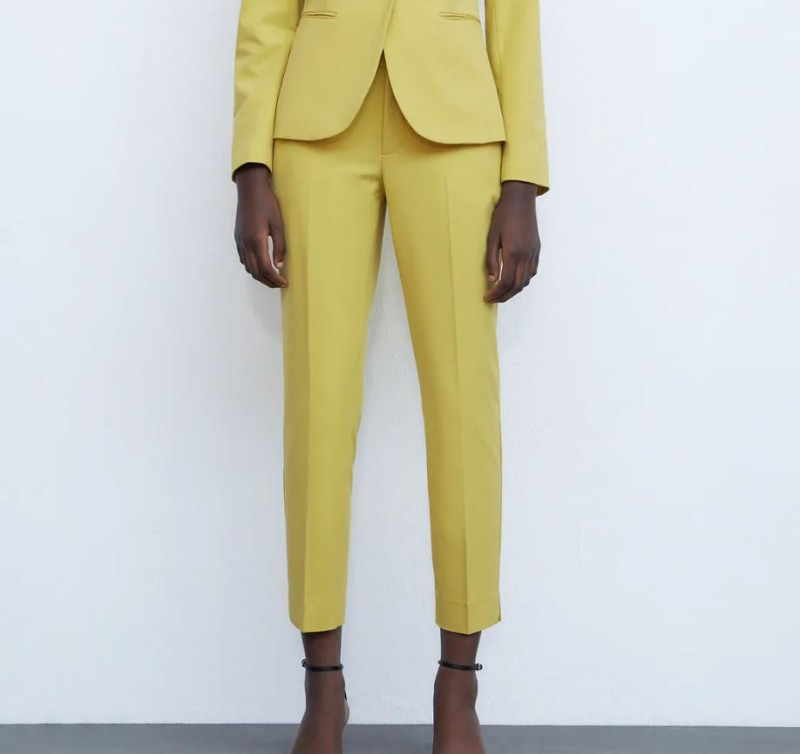 Zara κίτρινο παντελόνι