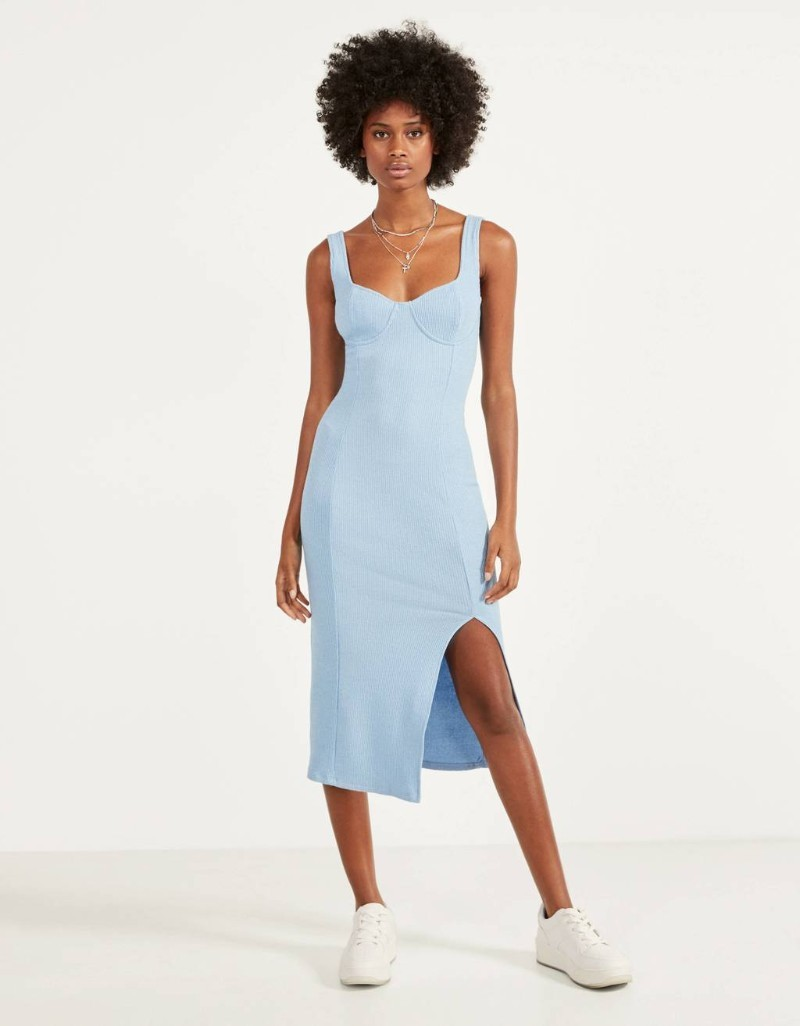 Bershka γαλάζιο μίντι φόρεμα