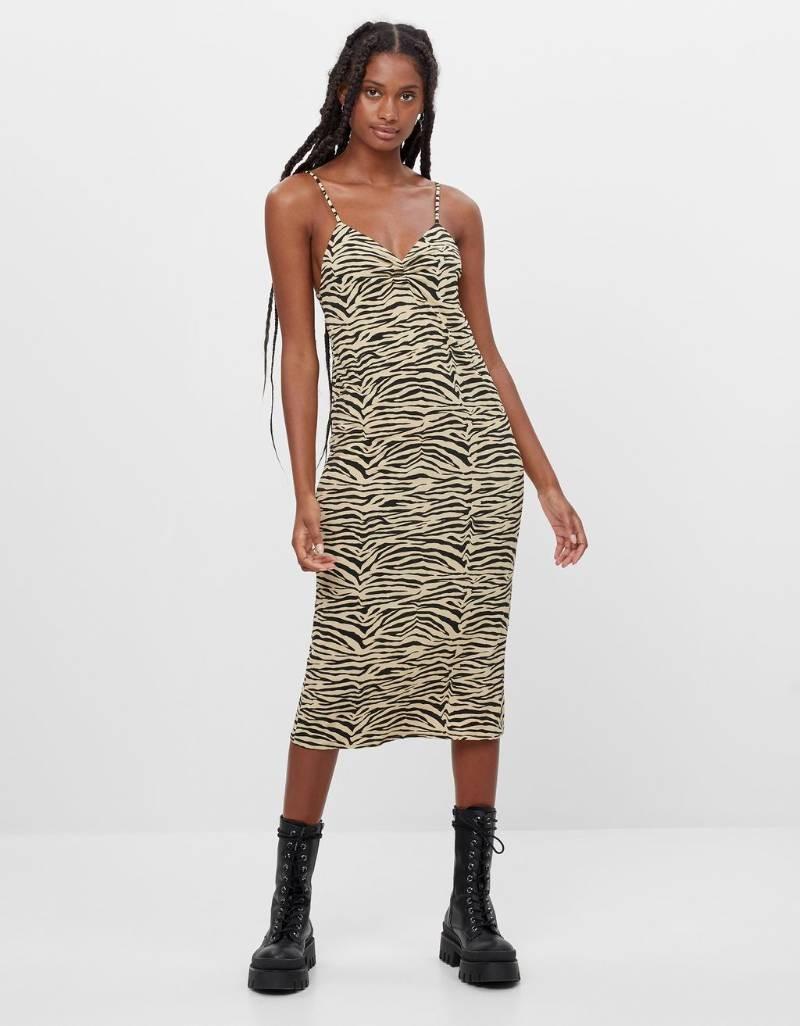 Bershka ζεβρέ φόρεμα
