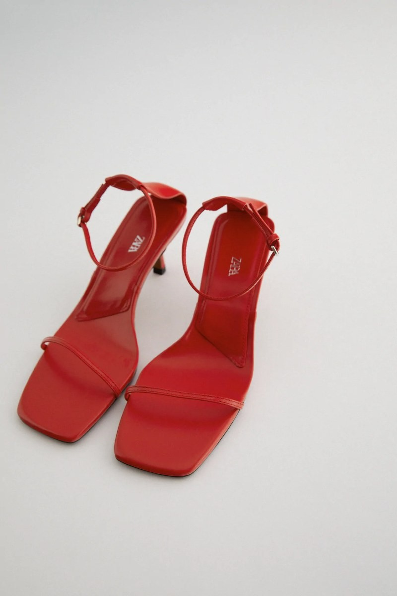 Zara κόκκινα δερμάτινα πέδιλα