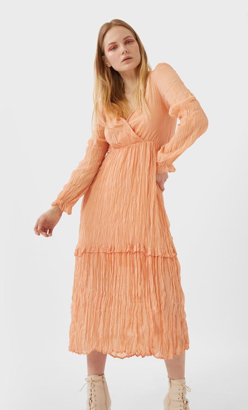 ροδακινι φορεμα stradivarius