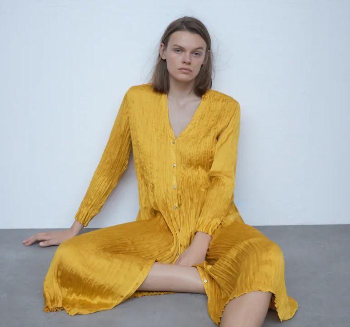 Zara κίτρινο φόρεμα καταπληκτικό