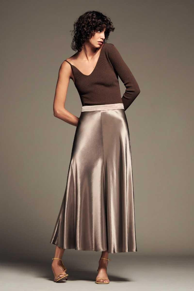 Zara σατέν φούστα