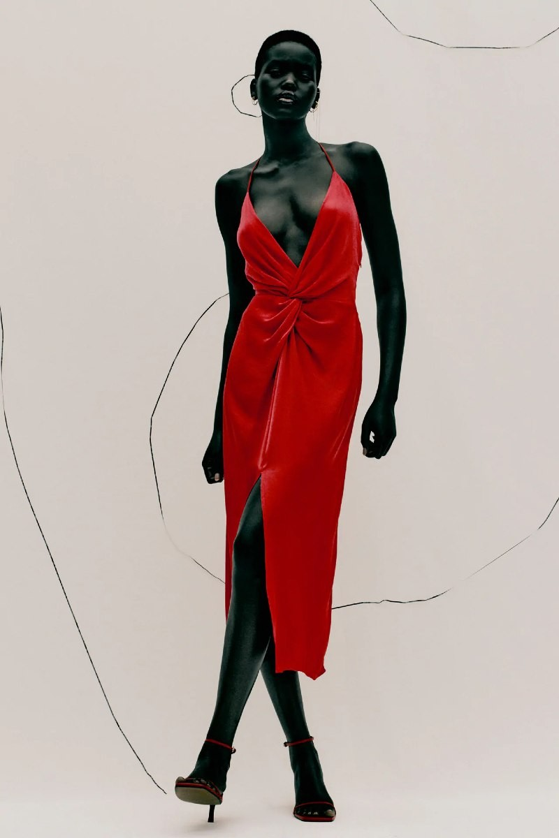 Zara κόκκινο σατέν φόρεμα νέα συλλογή