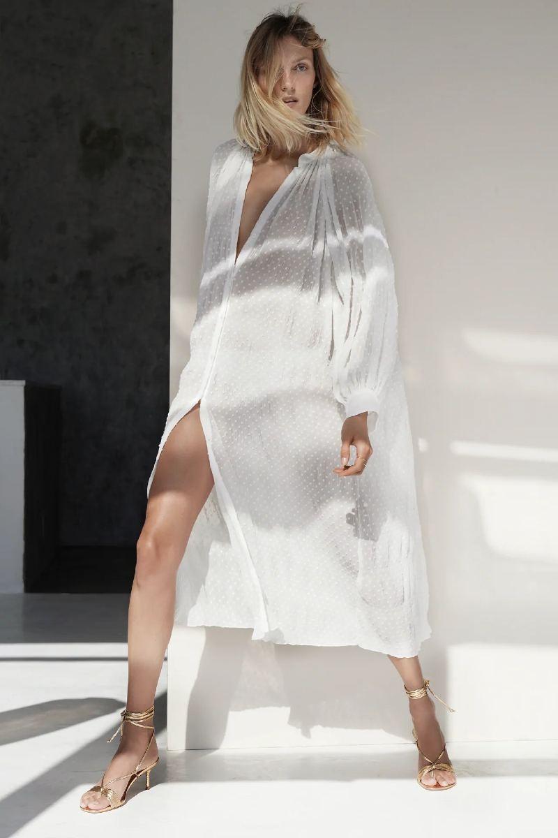 Zara λευκό φόρεμα