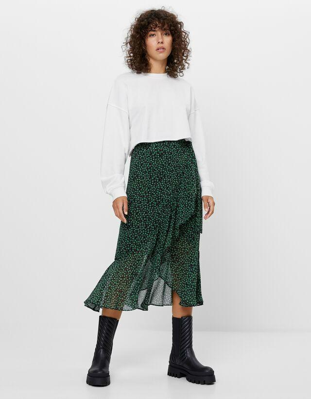 Πράσινη εμπριμέ φούστα