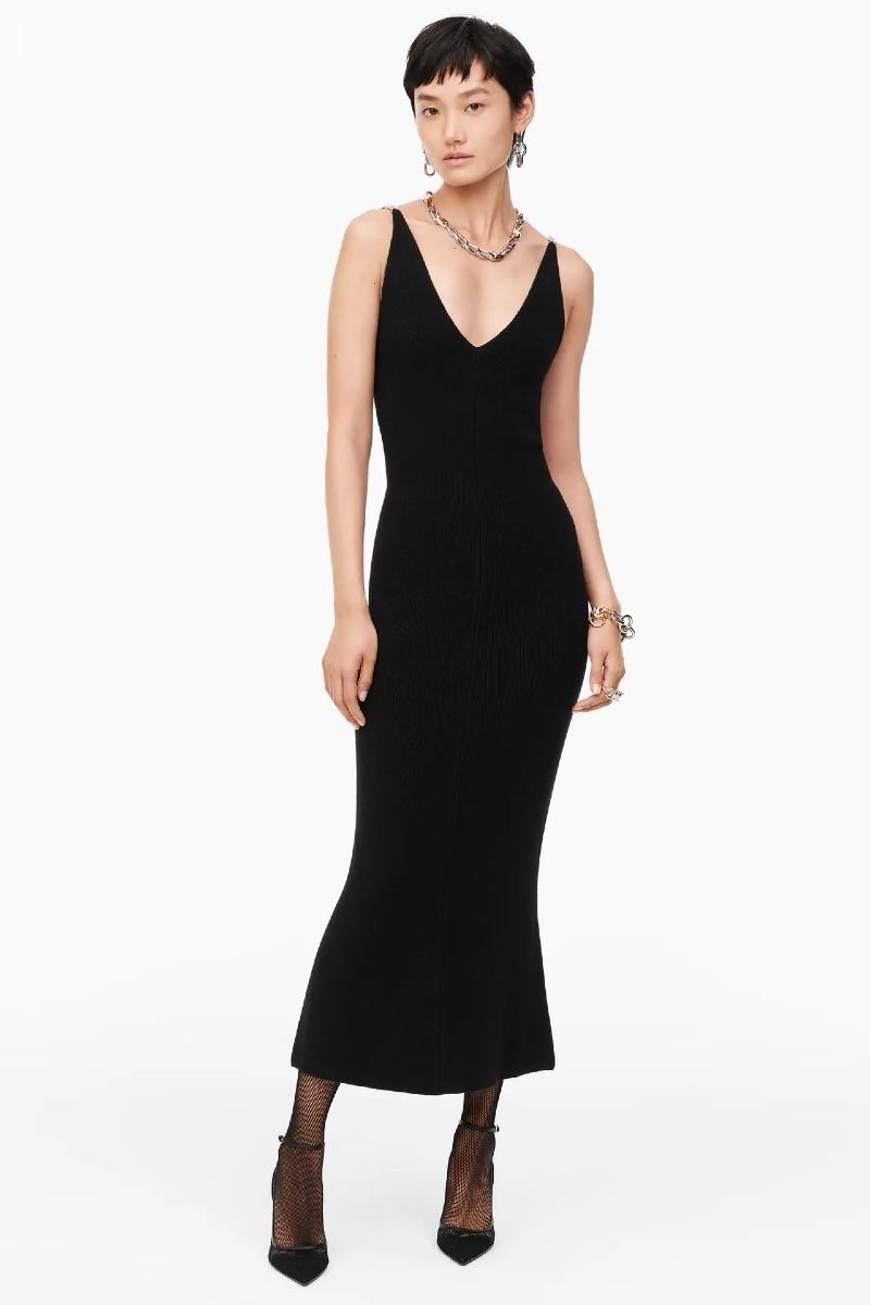 Zara μάλλινο μαύρο φόρεμα
