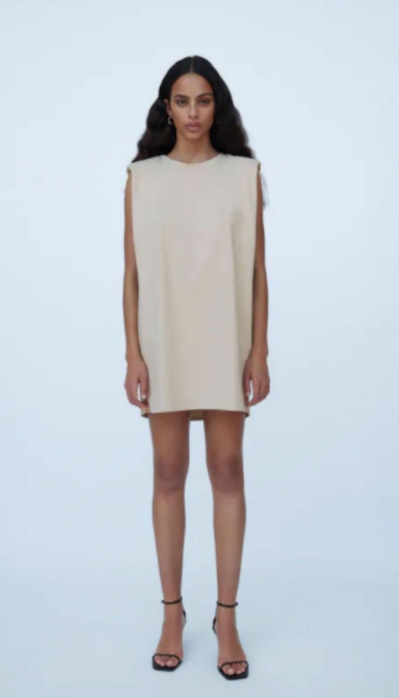 μπεζ φόρεμα zara