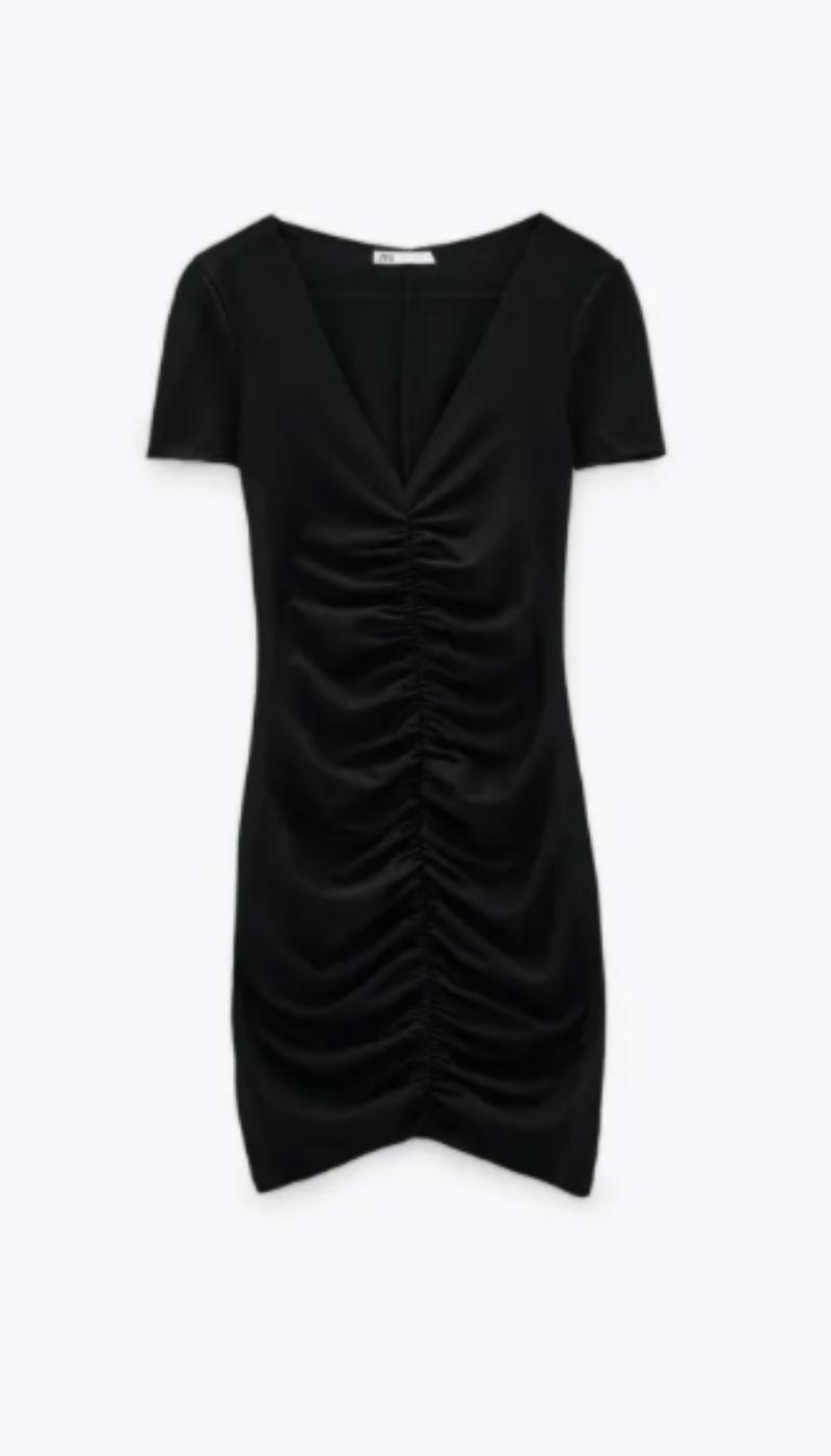 μαύρο βραδινό φόρεμα zara