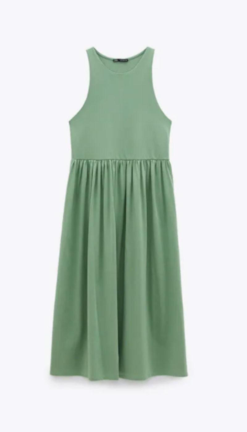 πράσινο παστέλ φόρεμα zara