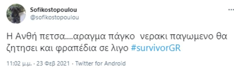 Survivor 4 ανθή σαλαγκούδη twitter