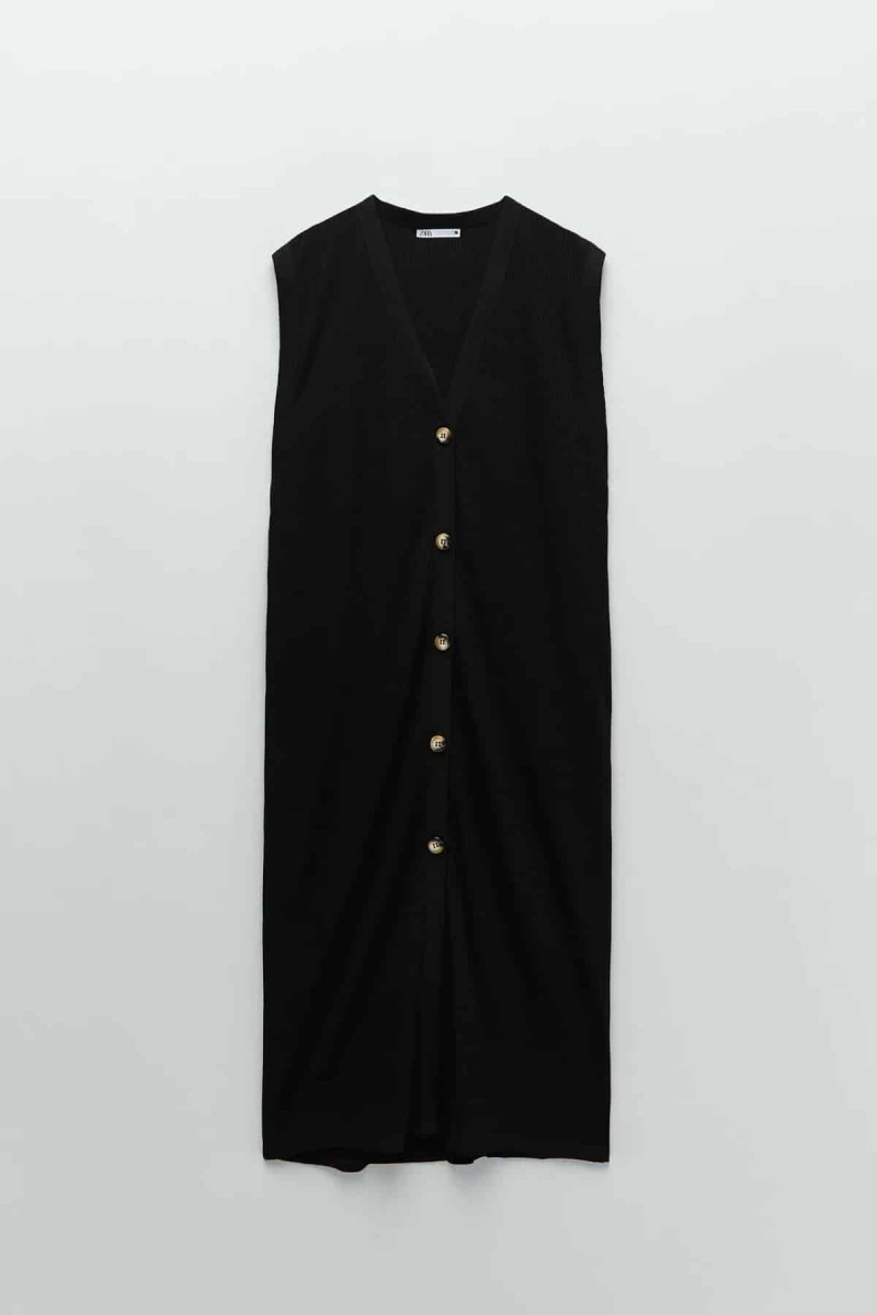 zara μαύρο φόρεμα με κουμπιά