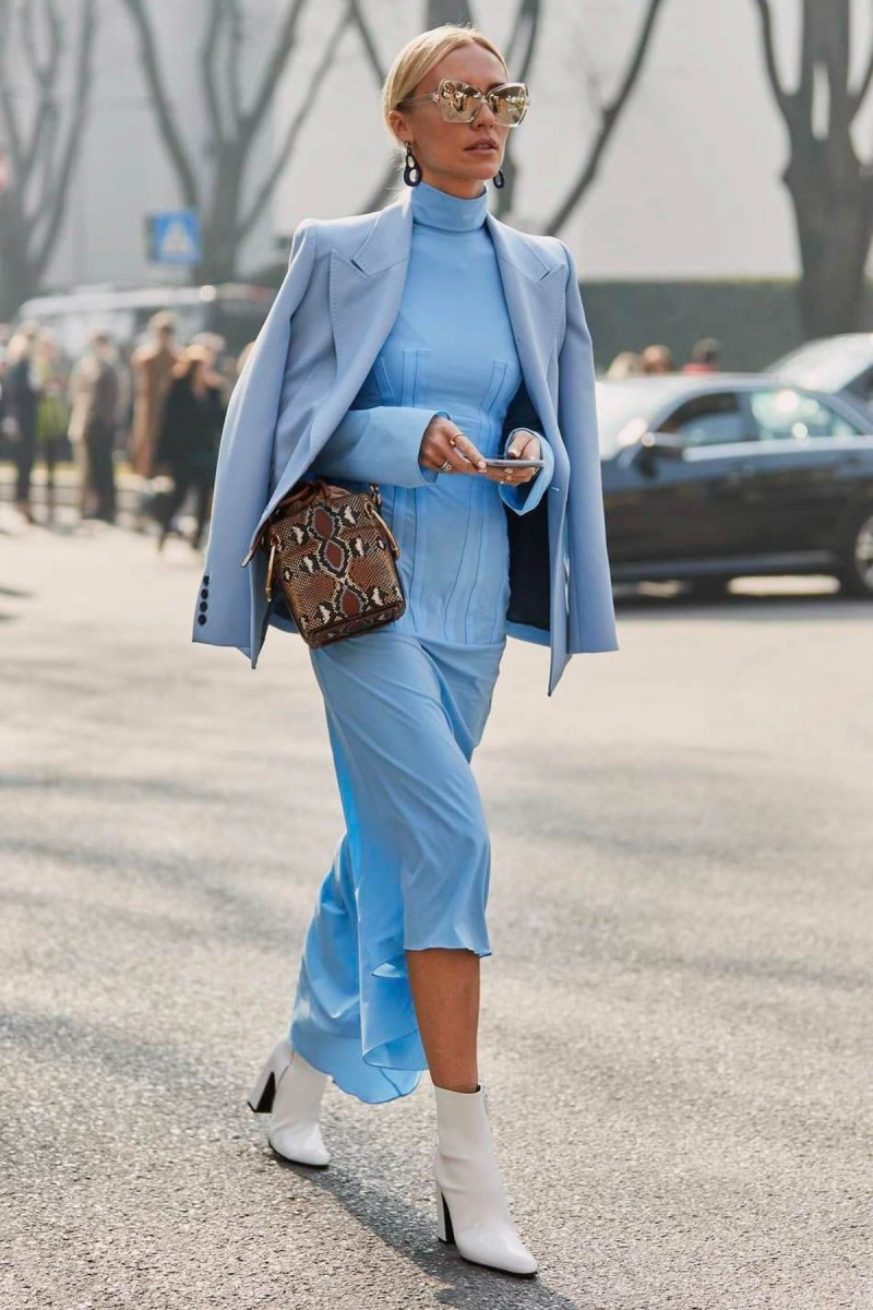 street style μπλε σύνολο
